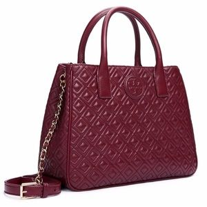 Tory Burch Quilted Marion Tote Burgundy AUTHENTIC